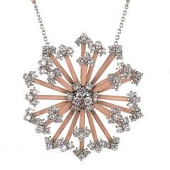 Staurino Fratelli Diamond Enamel Snowflake Pendant Diamond Station Necklace