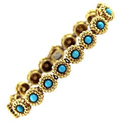 1960s Tiffany & Co. Turquoise Gold Link Bracelet