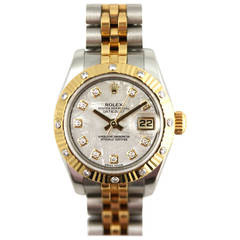 Rolex Lady's Yellow Gold Stainless Steel Diamond Perpetual Datejust Wristwatch