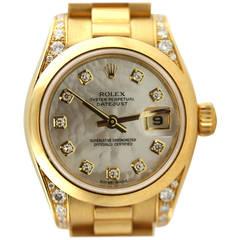 Rolex Lady's Yellow Gold Diamond Datejust President Wristwatch
