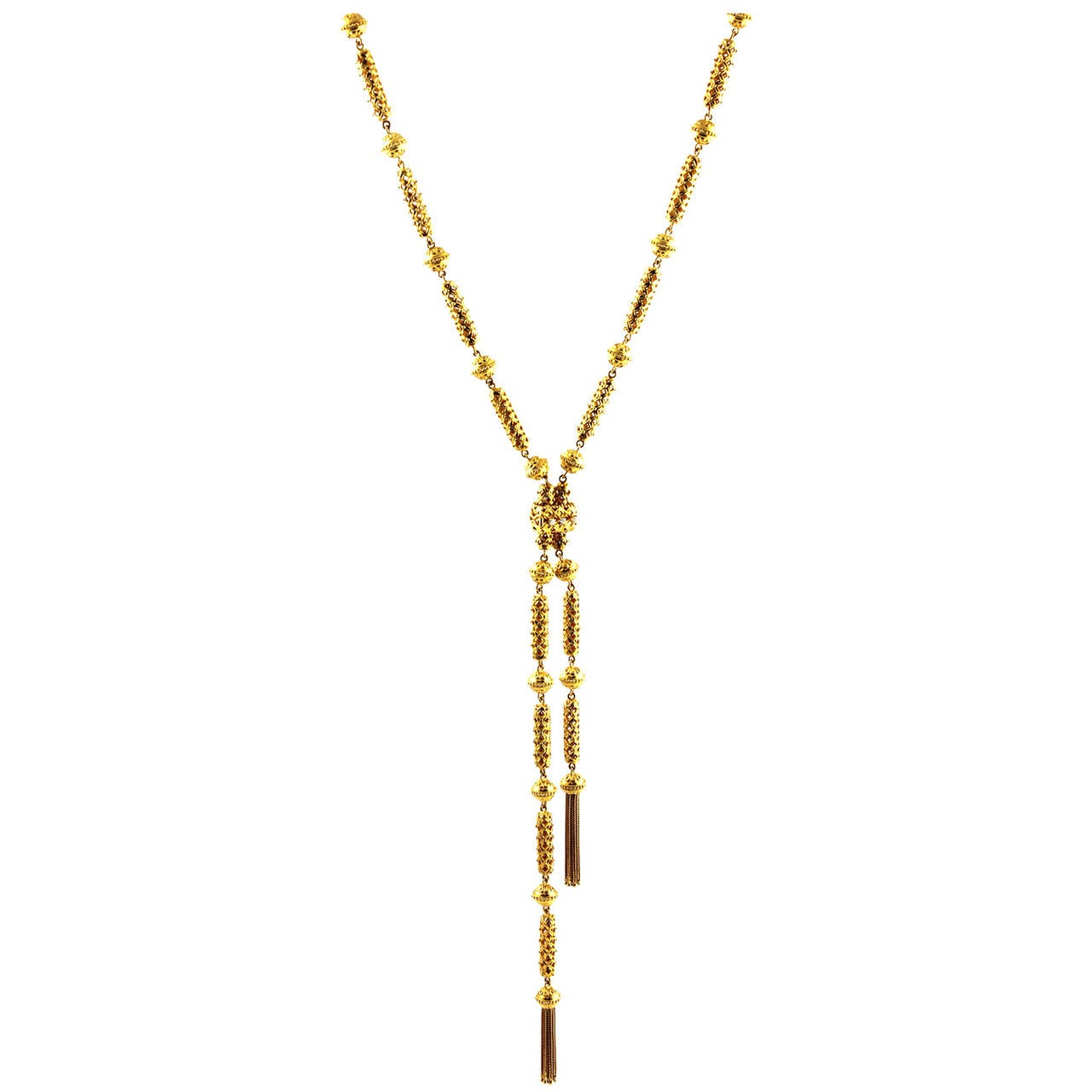 Diamond Gold Lariat Style Necklace with Tassels at 1stdibs