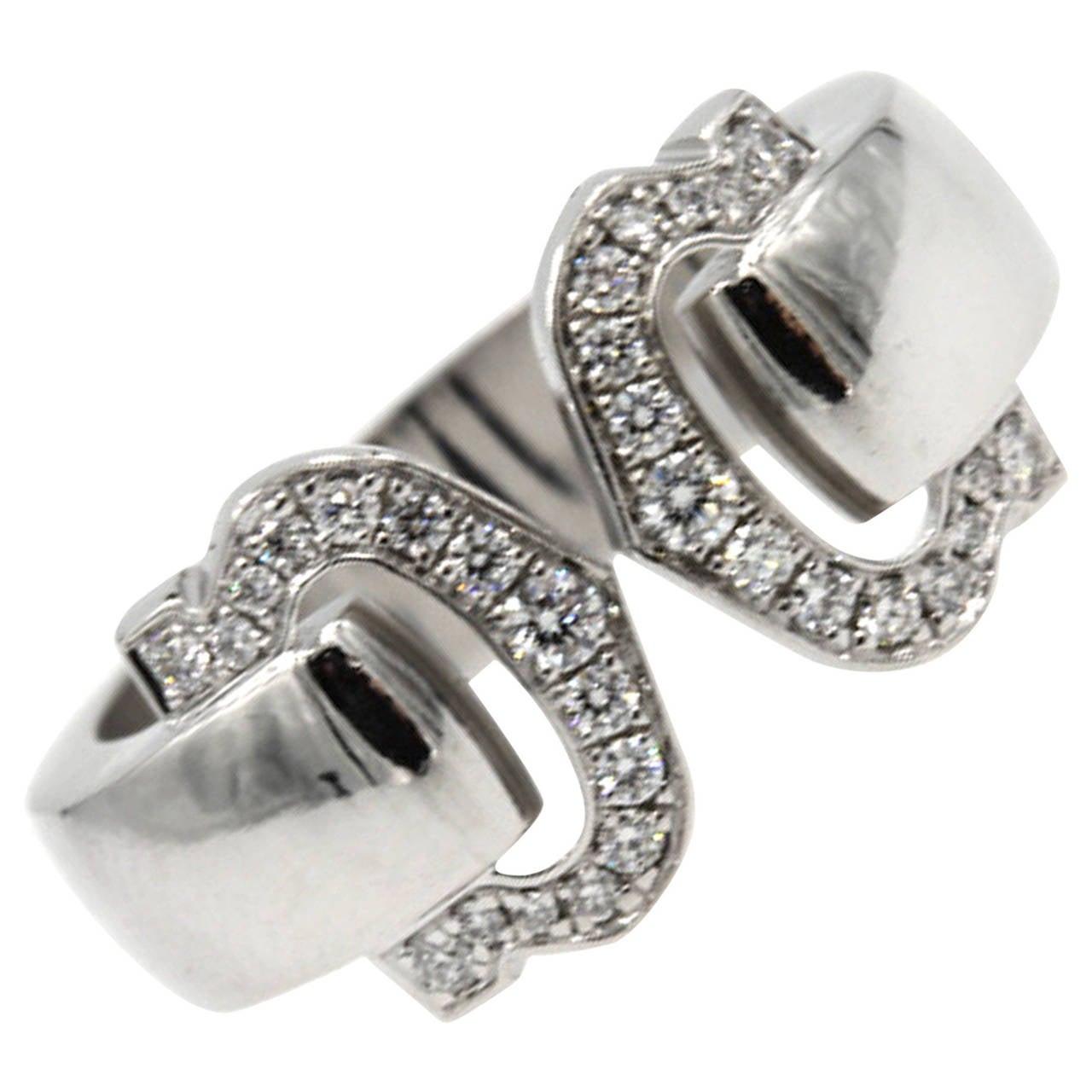 """Cartier """"Logo De Cartier"""" Diamond Gold Double C Ring"""