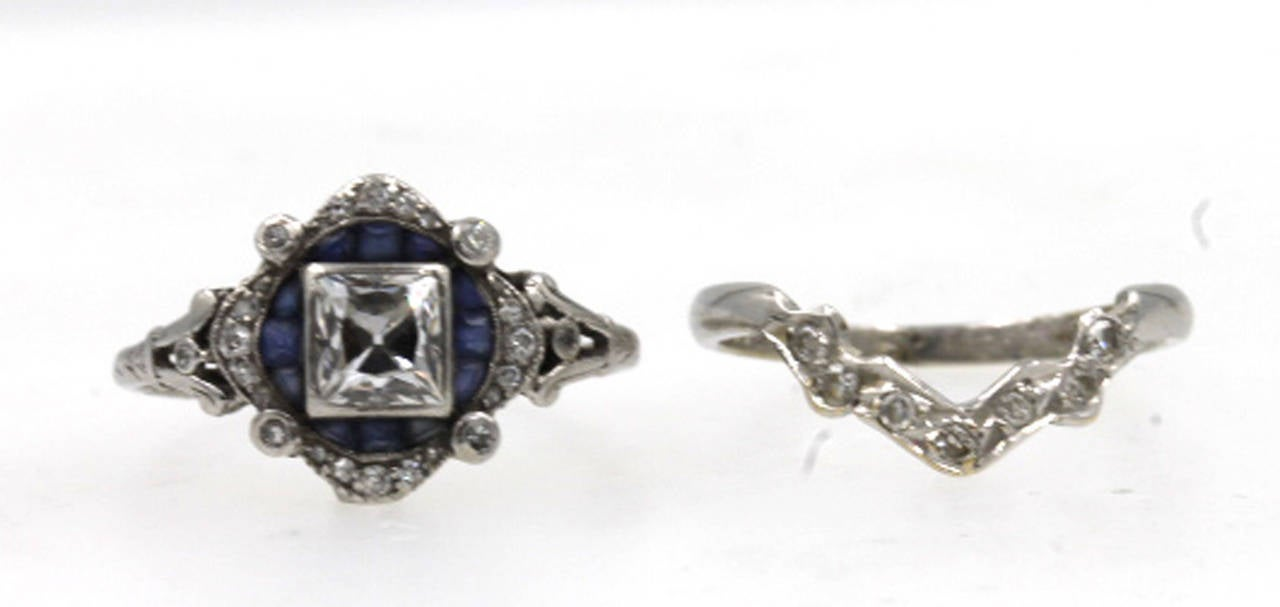 Tiffany and Co Art Deco Sapphire Diamond Platinum Engagement Ring at 1stdibs