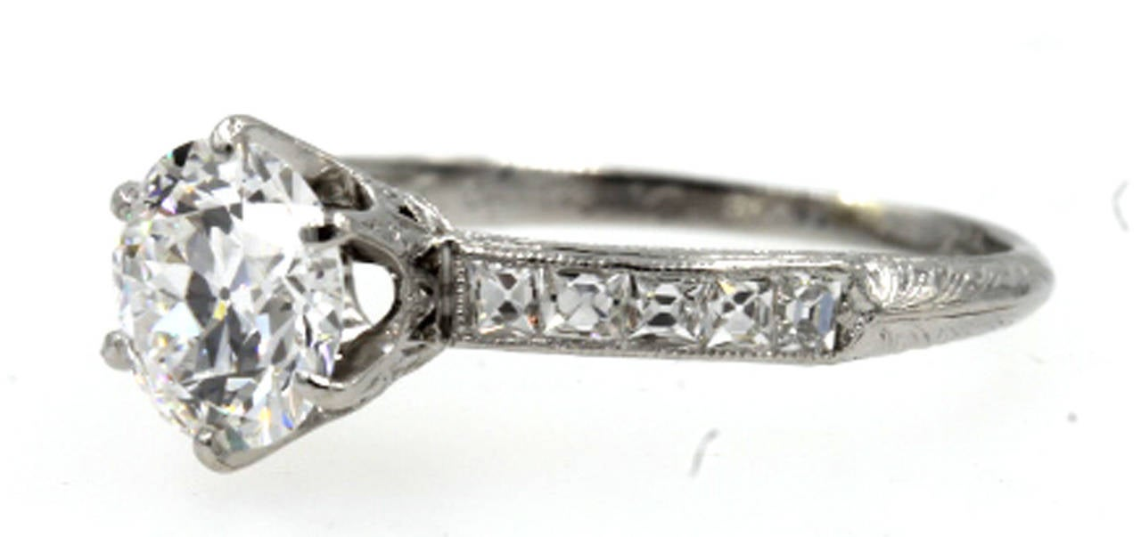 Tiffany and Co Antique Diamond Platinum Engagement Ring GIA Certificate at 1