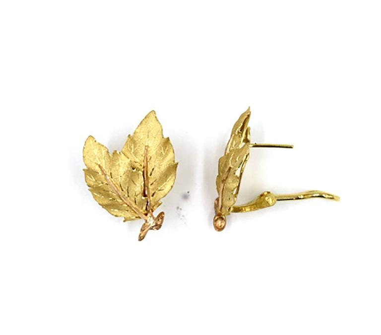 Buccellati Gold Two Leaf Design Earrings 2