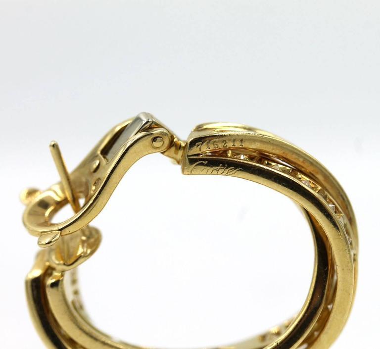 Round Cut Cartier 5-Carat Diamond 18 Karat Yellow Gold Trinity Hoop Earrings For Sale