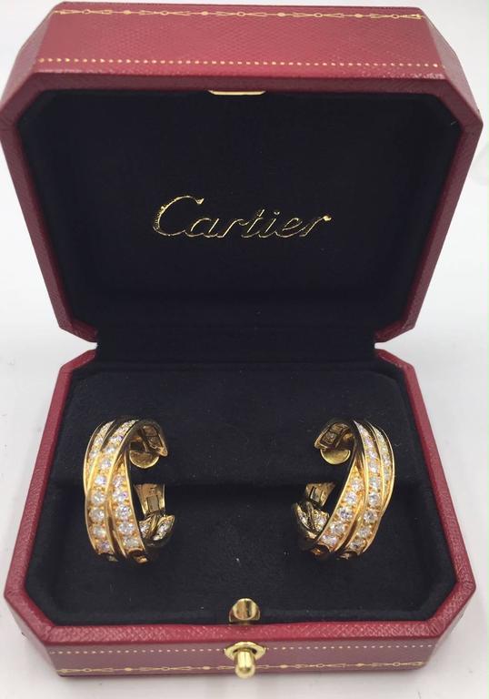 Cartier 5-Carat Diamond 18 Karat Yellow Gold Trinity Hoop Earrings In Excellent Condition For Sale In Boca Raton, FL