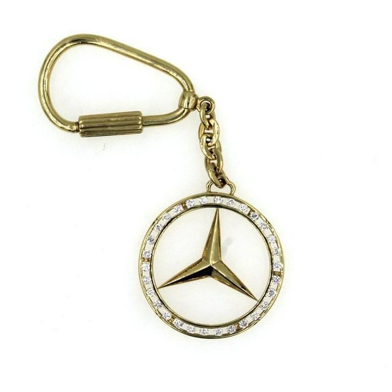 Mercedes emblem diamond gold key chain at 1stdibs for Mercedes benz 18k gold ring