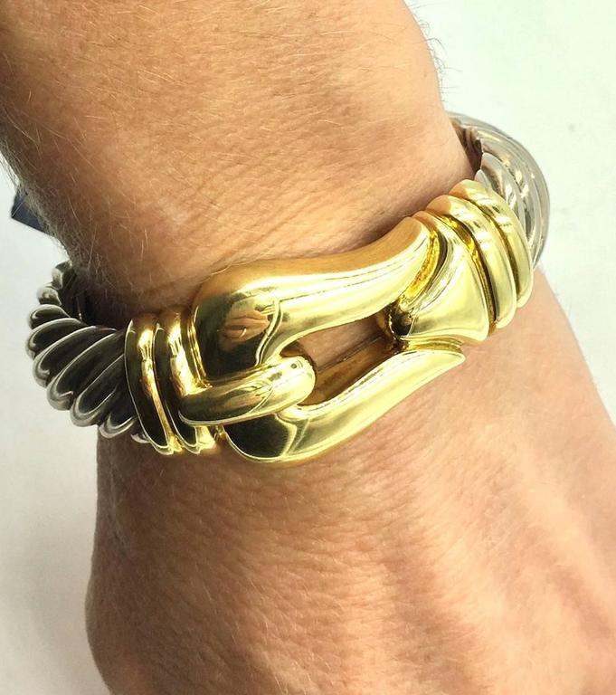 David Yurman 18 Karat Gold Sterling Silver Gold Buckle Cuff Cable Bracelet In New Condition For Sale In Boca Raton, FL