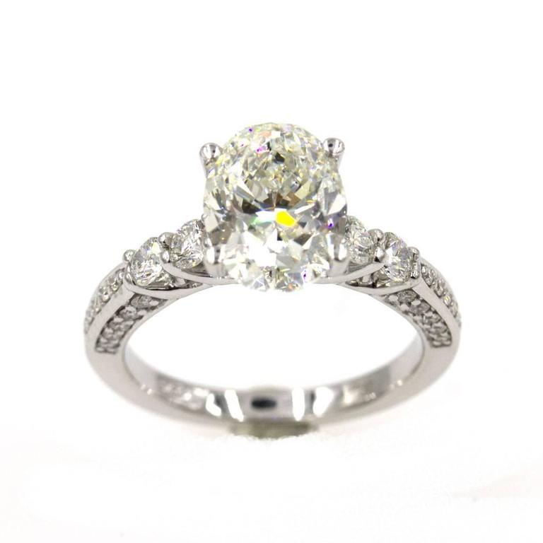 3 08 Carat Oval Diamond Engagement Ring GIA Certified For Sale at 1stdibs