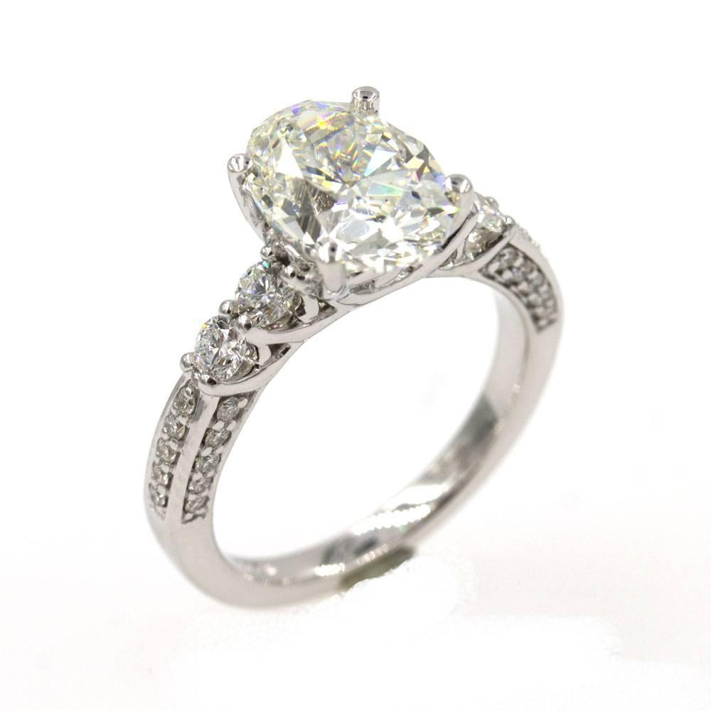 3 08 Carat Oval Diamond Engagement Ring GIA Certificate For Sale at 1stdibs