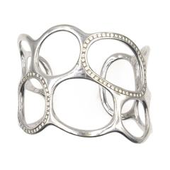 Gavello Modern Diamond White Gold Wide Cuff Bracelet