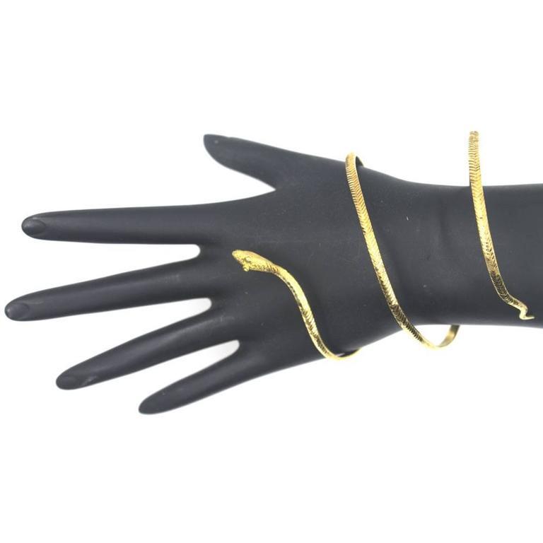 22-Karat Yellow Gold Wide Snake Cuff Bracelet 4