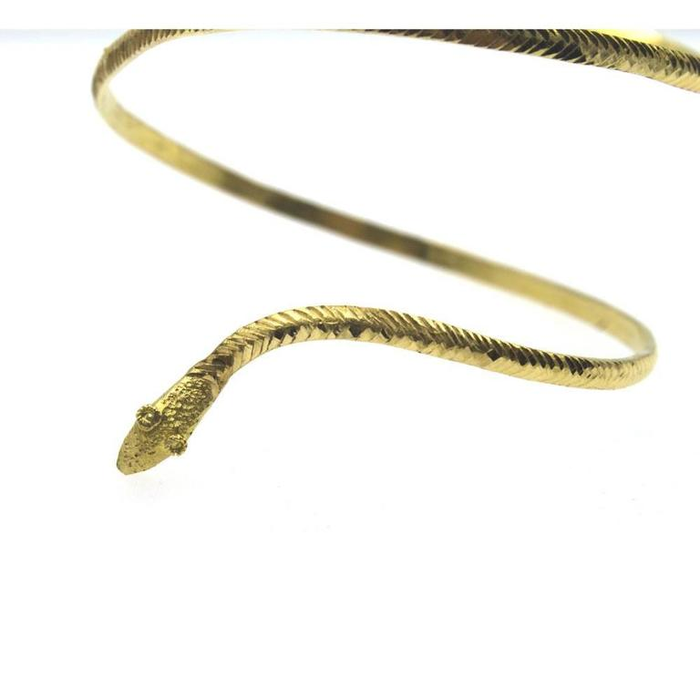 22-Karat Yellow Gold Wide Snake Cuff Bracelet 3