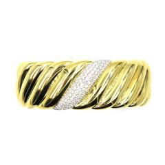 David Yurman Diamond Yellow Gold Sculpted Cable Wide Cuff Bracelet