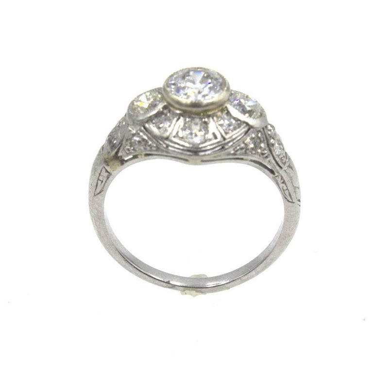 Art Deco Diamond Platinum Engagement Ring 2