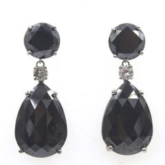 Black and White Diamond Drop White Gold Earrings
