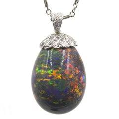 90 Carat Black Opal Diamond 18 Karat White Gold Pendant Necklace