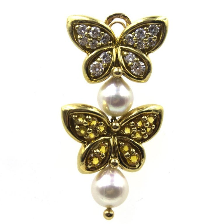 Round Cut Van Cleef & Arpels Diamond Yellow Sapphire Pearl Butterfly Dangle Clip Earrings For Sale