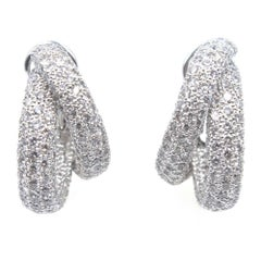 10 Carat Diamond White Gold Double Hoop Earrings