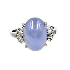 1960s Star Sapphire Diamond Platinum Ring