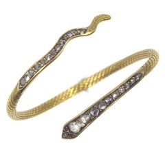 Antique 22 Karat Yellow Gold Rose Cut Diamond Snake Cuff Bracelet
