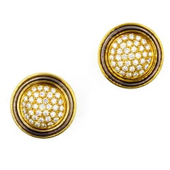 Italian 1970s Pave Diamond Button 18 Karat Two-Tone Gold Clip Earrings