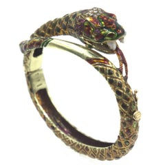 1950s Enamel Diamond Ruby 18 Karat Yellow Gold Snake Bangle Bracelet