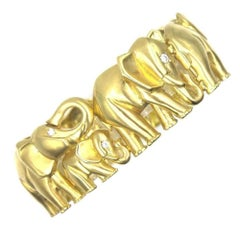Diamond 18 Karat Yellow Gold Wide Elephant Estate Bracelet