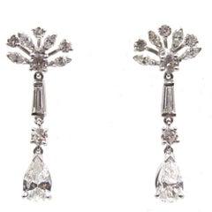 1950s Diamond Platinum Drop Earrings