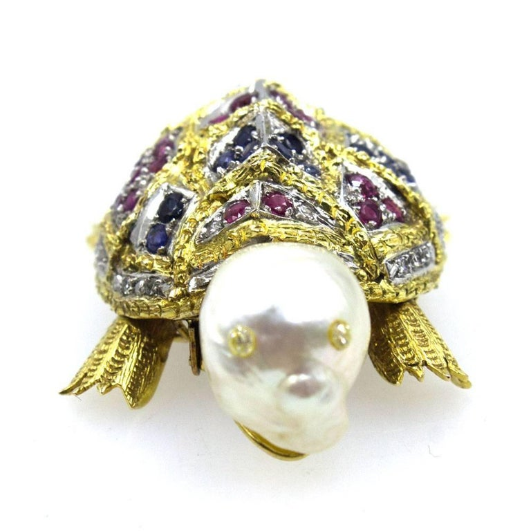Modern Diamond Sapphire Ruby Pearl Turtle Brooch Pin For Sale
