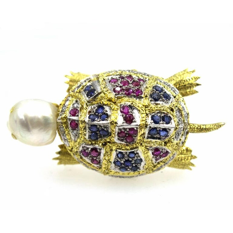 Round Cut Diamond Sapphire Ruby Pearl Turtle Brooch Pin For Sale