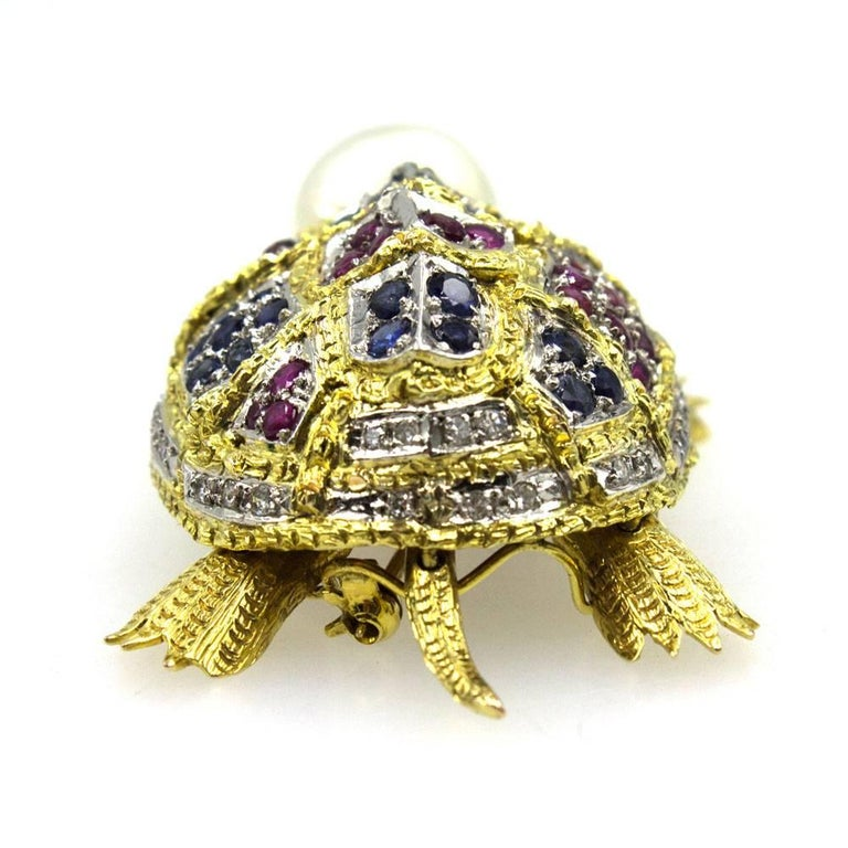 Diamond Sapphire Ruby Pearl Turtle Brooch Pin In Good Condition For Sale In Boca Raton, FL