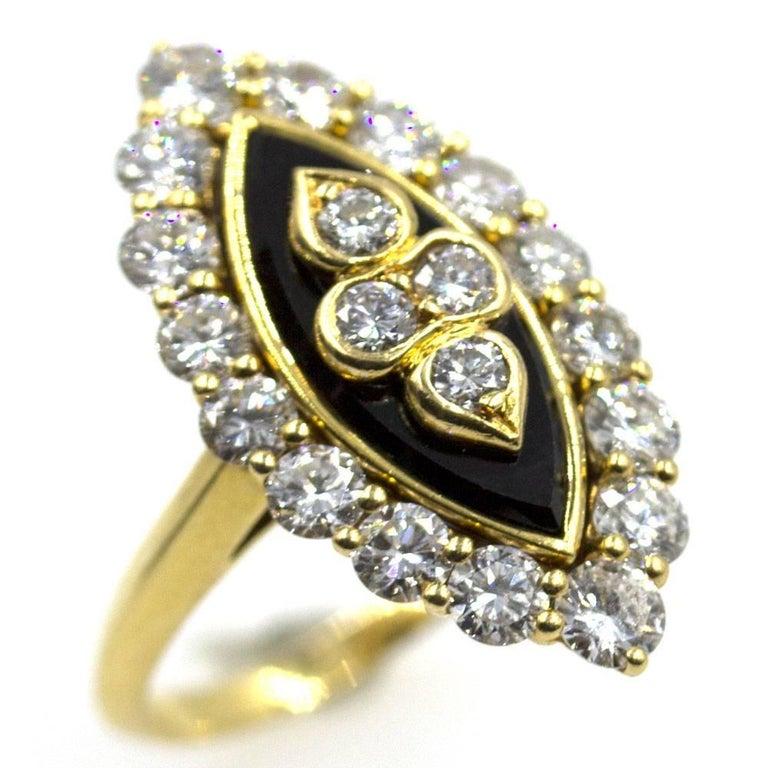 Round Cut Van Cleef & Arpels Diamond Onyx Vintage Ring For Sale
