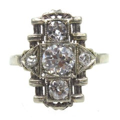 Art Deco Diamond Platinum Filigree Cocktail Ring GIA Certified