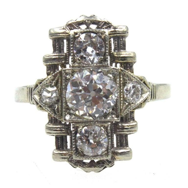 Art Deco Diamond Platinum Filigree Cocktail Ring GIA Certified