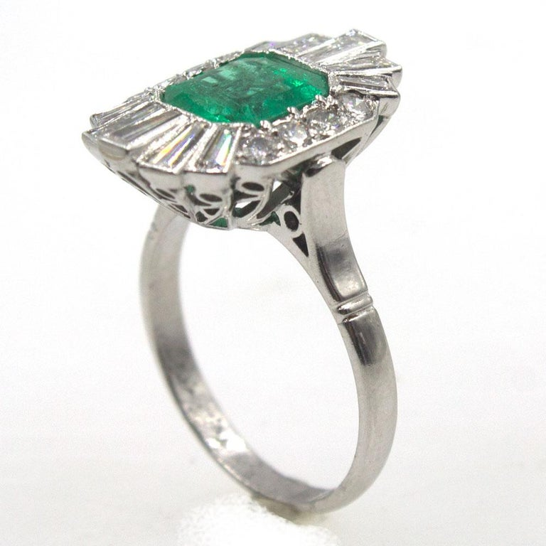 Art Deco 1940s Emerald Diamond Platinum Cocktail Ring For Sale