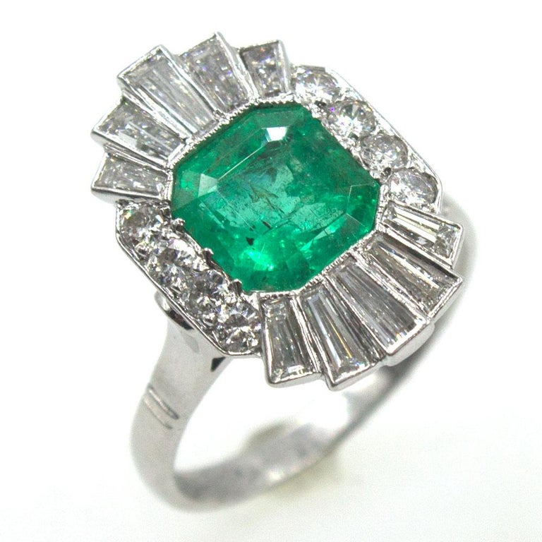 Baguette Cut 1940s Emerald Diamond Platinum Cocktail Ring For Sale