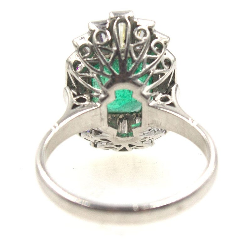 Women's 1940s Emerald Diamond Platinum Cocktail Ring For Sale
