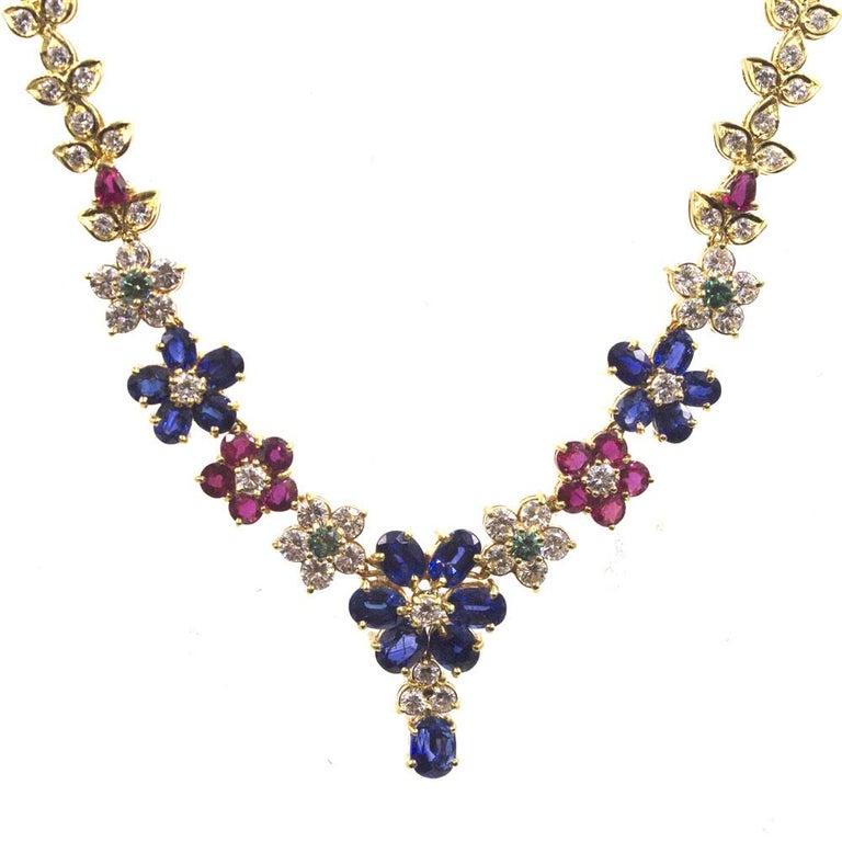 Diamond Ruby Sapphire Emerald Multi-Color Floral Drop 18 Karat Gold Necklace
