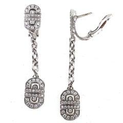 Bvlgari Parentesi Diamond Drop 18 Karat White Gold Earrings
