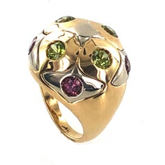 Bvlgari 18 Karat Two-Tone Peridot Pink Tourmaline Dome Ring