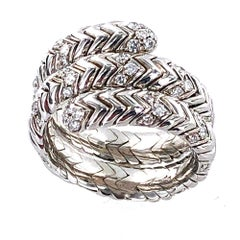 Bvlgari Diamond Snake Ring Spiga Collection 18 Karat White Gold Ring