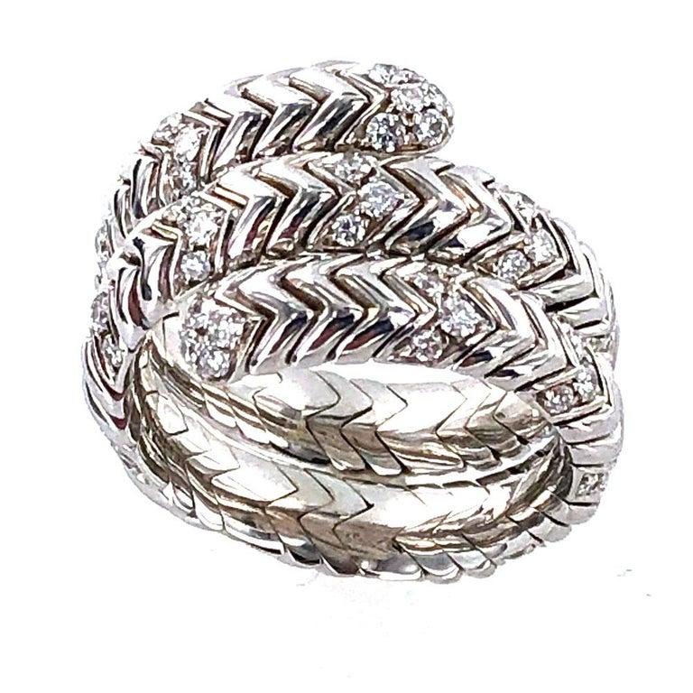 Bvlgari Spiga Diamond 18 Karat White Gold Ring For Sale