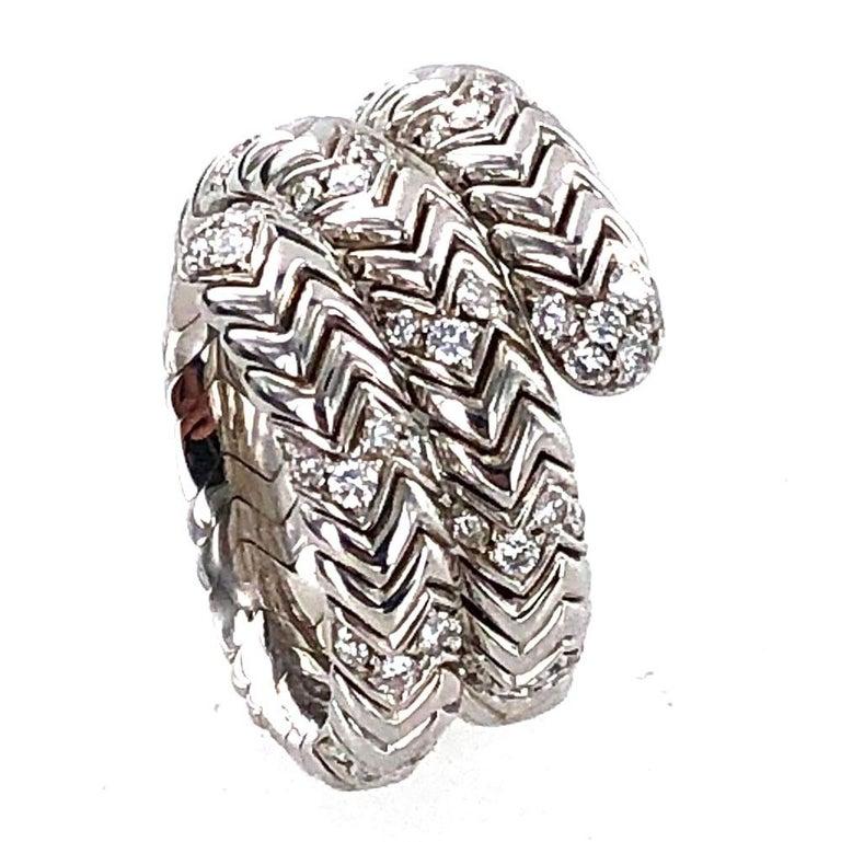 Modern Bvlgari Spiga Diamond 18 Karat White Gold Ring For Sale