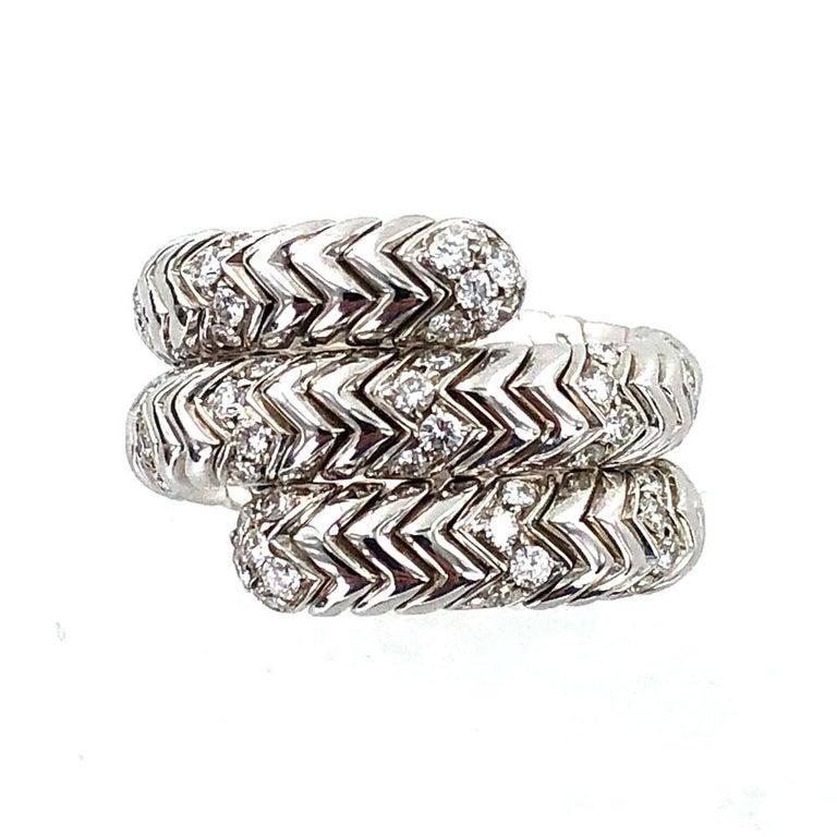 Round Cut Bvlgari Spiga Diamond 18 Karat White Gold Ring For Sale