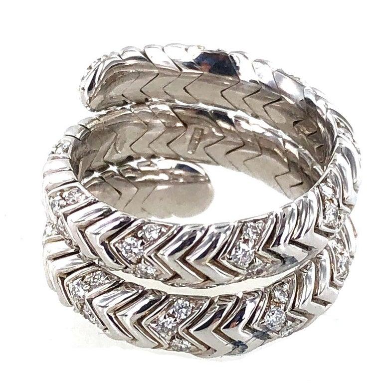 Bvlgari Spiga Diamond 18 Karat White Gold Ring In Excellent Condition For Sale In Boca Raton, FL