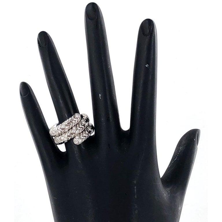 Women's Bvlgari Spiga Diamond 18 Karat White Gold Ring For Sale