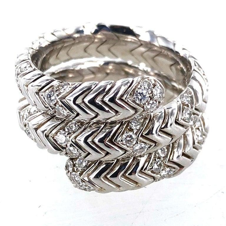 Bvlgari Spiga Diamond 18 Karat White Gold Ring For Sale 3