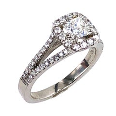 Modern Princess Cut Diamond Platinum Halo Engagement Ring GIA Certified